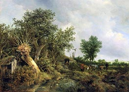 Landscape with a Hut | Ruisdael | Painting Reproduction