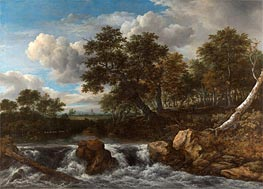 Landscape with Waterfall, c.1668 by Ruisdael | Painting Reproduction