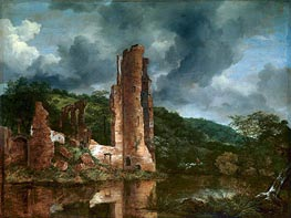Landscape with the Ruins of the Castle of Egmond | Ruisdael | Gemälde Reproduktion