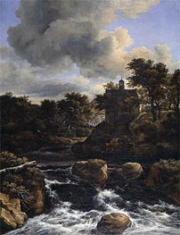 Mountainous Landscape with Waterfall, c.1660/65 von Ruisdael | Gemälde-Reproduktion