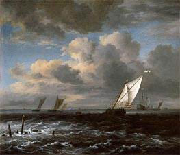 Rough Sea, c.1670 von Ruisdael | Gemälde-Reproduktion
