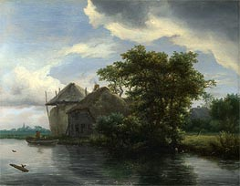 A Cottage and a Hayrick by a River, c.1646/50 von Ruisdael | Gemälde-Reproduktion