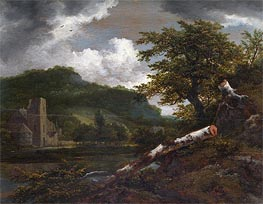 A Landscape with a Ruined Building, c.1655 von Ruisdael | Gemälde-Reproduktion