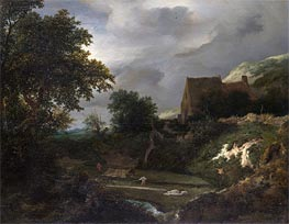 A Bleaching Ground in a Hollow by a Cottage, c.1645/50 von Ruisdael | Gemälde-Reproduktion