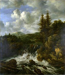 A Landscape with a Waterfall and a Castle on a Hill, c.1660/70 von Ruisdael | Gemälde-Reproduktion