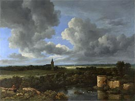 A Landscape with a Ruined Castle and a Church, c.1665/70 von Ruisdael | Gemälde-Reproduktion