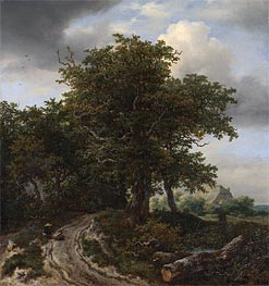 A Road Winding between Trees towards a Distant Cottage, c.1645/50 von Ruisdael | Gemälde-Reproduktion