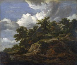 A Rocky Hill with Three Cottages a Stream at its Foot, c.1650/60 von Ruisdael | Gemälde-Reproduktion