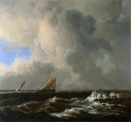 Vessels in a Fresh Breeze, c.1660/65 von Ruisdael | Gemälde-Reproduktion