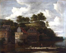 Three Watermills with Washerwomen, c.1670 von Ruisdael | Gemälde-Reproduktion