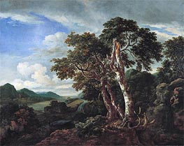 Three Great Trees in a Mountainous Landscape with a River | Ruisdael | Painting Reproduction