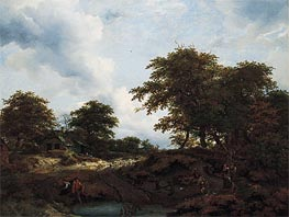 Woody Landscape with a Pool and Figures, c.1660 von Ruisdael | Gemälde-Reproduktion