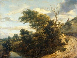 Dirt Road in the Dunes, 1655 von Ruisdael | Gemälde-Reproduktion