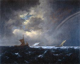 Ship in Rough Sea, 1655 von Ruisdael | Gemälde-Reproduktion