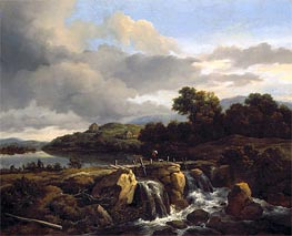 Landscape with Cascade | Ruisdael | Painting Reproduction