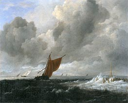 Stormy Sea with Sailing Vessels | Ruisdael | Painting Reproduction