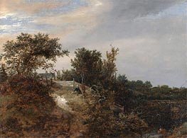 A Landscape with a Stream, 1647 by Ruisdael | Painting Reproduction