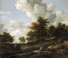 Wooded Landscape with a Rocky Stream, undated by Ruisdael | Painting Reproduction