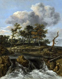 A River Landscape with a Waterfall, undated by Ruisdael | Painting Reproduction
