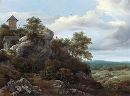 Landscape with Houses on a Rocky Hill, undated by Ruisdael | Painting Reproduction