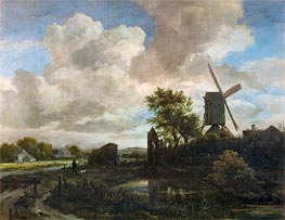 Evening Landscape, A Windmill by a Stream, c.1655/60 by Ruisdael | Painting Reproduction