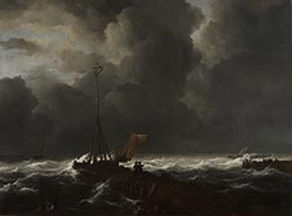 Rough Sea at a Jetty | Ruisdael | Painting Reproduction