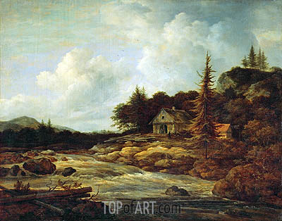 Landscape with Mountain River, c.1670/80 | Ruisdael | Painting Reproduction