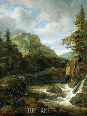 Mountain Landscape with Waterfall, c.1670/80   Ruisdael   Painting Reproduction