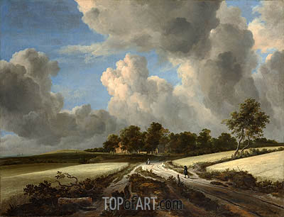 Wheat Fields, c.1670 | Ruisdael | Gemälde Reproduktion