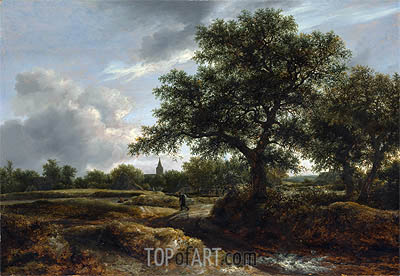 Landscape with a Village in the Distance, 1646 | Ruisdael | Painting Reproduction