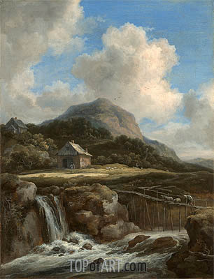 Mountain Torrent, c.1670/80 | Ruisdael | Painting Reproduction