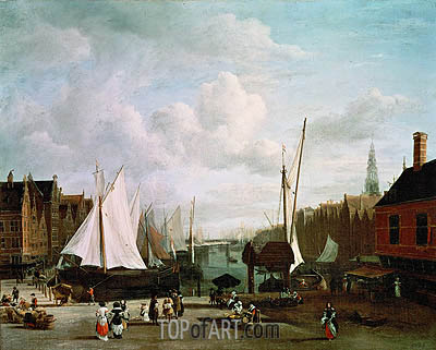 Harbour with Sailing Boats and Market Stalls, c.1660 | Ruisdael | Gemälde Reproduktion