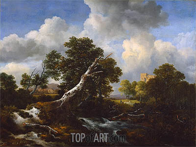 Landscape with a Dead Tree, c.1660/70 | Ruisdael | Gemälde Reproduktion