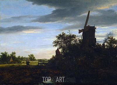 A Windmill near Fields, 1646 | Ruisdael | Gemälde Reproduktion