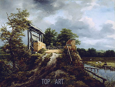 Bridge with a Sluice, c.1648/49 | Ruisdael | Gemälde Reproduktion
