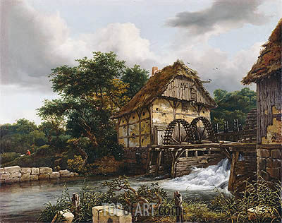 Two Watermills and an Open Sluice, 1653 | Ruisdael | Gemälde Reproduktion