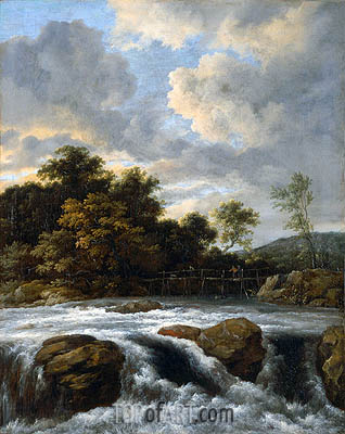 Landscape with Waterfall, c.1665 | Ruisdael | Gemälde Reproduktion