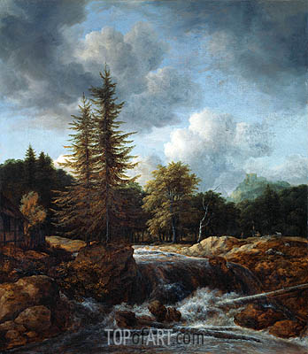 Landscape with Waterfall, c.1660/70 | Ruisdael | Gemälde Reproduktion