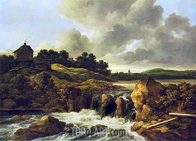 Landscape with Waterfall, c.1670 | Ruisdael | Gemälde Reproduktion