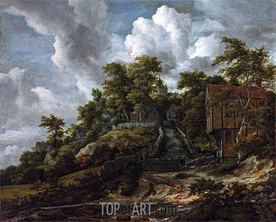 Wooded Hillside with a View of Bentheim Castle, c.1655/60 | Ruisdael | Gemälde Reproduktion