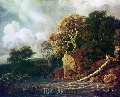 Landscape with a River, undated   Ruisdael   Painting Reproduction