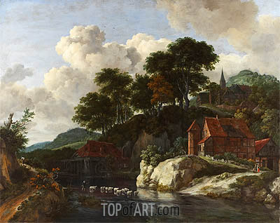 Hilly Landscape with a Watermill, c.1670 | Ruisdael | Painting Reproduction