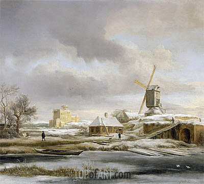 A Winter Landscape with a Frozen Canal and a Windmill, undated | Ruisdael | Gemälde Reproduktion