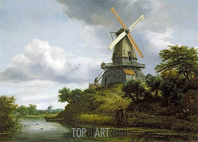 Windmill by a River, undated   Ruisdael   Gemälde Reproduktion