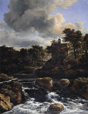 Mountainous Landscape with Waterfall, c.1660/65 | Ruisdael | Gemälde Reproduktion