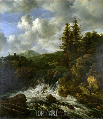 A Landscape with a Waterfall and a Castle on a Hill, c.1660/70 | Ruisdael | Gemälde Reproduktion