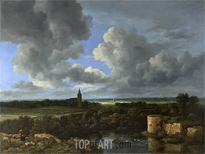 A Landscape with a Ruined Castle and a Church, c.1665/70 | Ruisdael | Gemälde Reproduktion