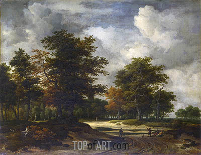 A Road Leading into a Wood, c.1665/60 | Ruisdael | Gemälde Reproduktion