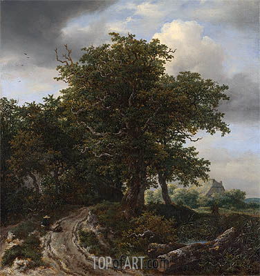 A Road Winding between Trees towards a Distant Cottage, c.1645/50 | Ruisdael | Gemälde Reproduktion