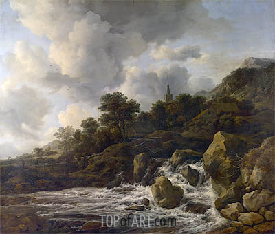 A Waterfall at the Foot of a Hill near a Village, c.1665/75 | Ruisdael | Gemälde Reproduktion